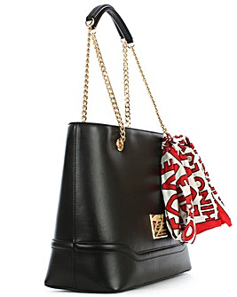 Love Moschino Black Scarf Shopper Bag