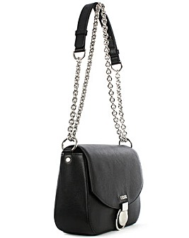 Versus Versace Black Leather Satchel Bag