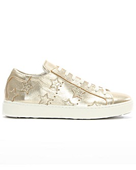 Daniel Gold Leather Star Motif Trainer