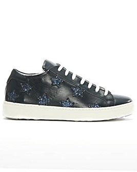 Daniel Navy Leather Star Motif Trainer