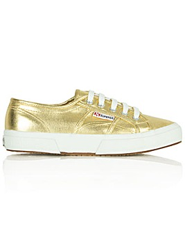 Superga Gold Metallic Lace Up Trainer