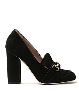 Daniel Fringes Block Heel Court Shoe