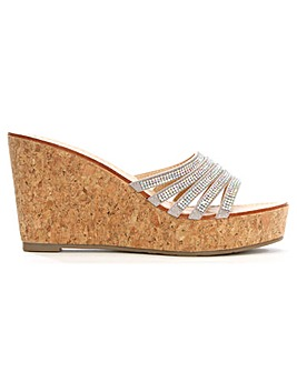 Daniel Hadid Diamante Cork Wedge Mule