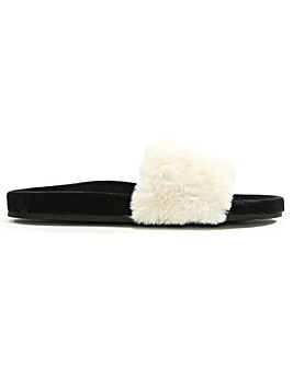 Verbenas Faux Fur One Strap Sliders