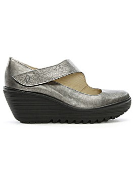 Fly London Leather Mary Jane Wedges