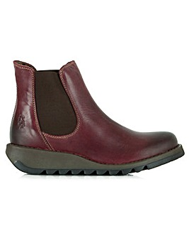 Fly London Leather Wedge Chelsea Boots