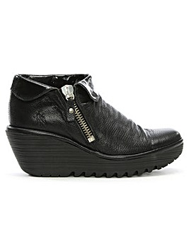 Fly London Leather Roll Over Wedge Boot