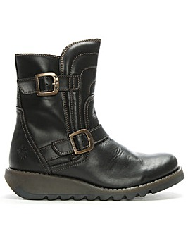 Fly London Leather Buckled Ankle Boots