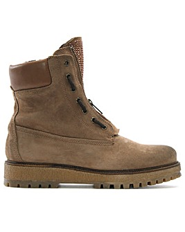 Daniel Mora Suede Zip Front Ankle Boots