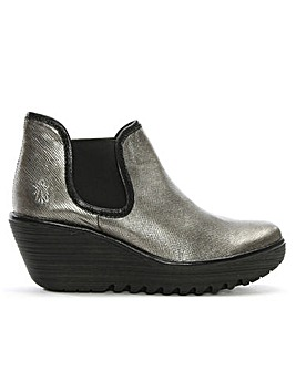 Fly London Metallic Wedge Chelsea Boots