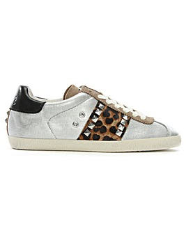 Ash Leather Leopard Panel Lace Trainers