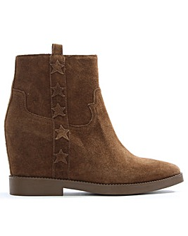 Ash Suede Concealed Wedge Ankle Boots
