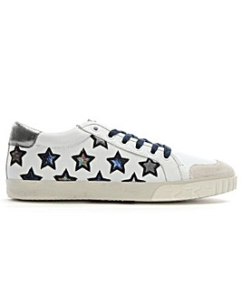 Ash Silver Leather Star Motif Trainer