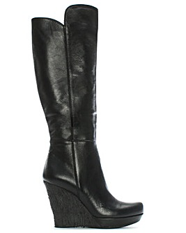 Daniel Wiser Leather Wedge Knee Boot