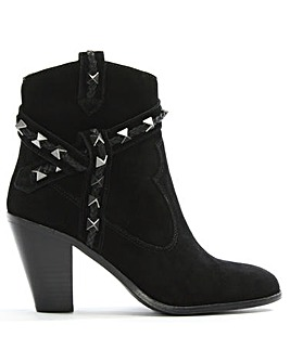 Ash Suede Studded Western Ankle Boots