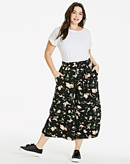 Floral Tie Waist Jersey Culottes