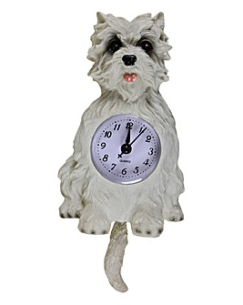 White Dog Wall Pendulum Clock