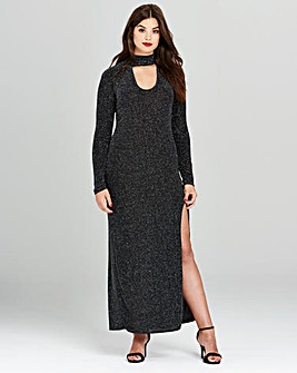 Simply Be Glitter High Split Maxi Dress