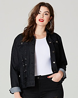 Simply Be Lace Up Detail Denim Jacket