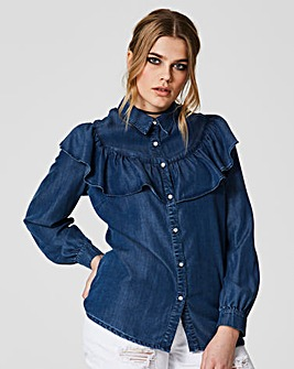 Simply Be Denim Ruffle Front Shirt