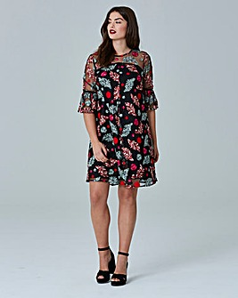 Simply Be Embroidered Mesh Swing Dress