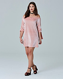 Simply Be Tie Sleeve Velvet Bardot Dress