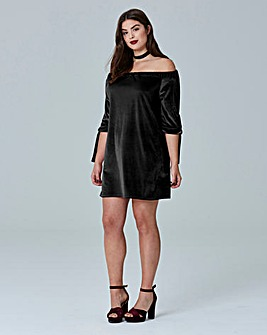 Simply Be Tie Sleeve Bardot Dress