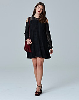 Simply Be Cold Shoulder Swing Lace Dress