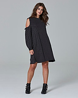 Simply Be Cold Shoulder Spot Dress