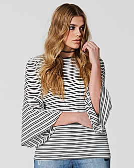 Simply be Stripe Fluted Sleeve Top
