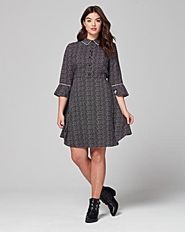 Simply Be Fluted Sleeve Shirt Dress