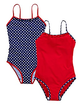 KD EDGE Girls Pack Spotted Swimsuit