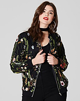 Simply Be Embroidered Bomber