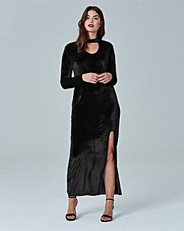Simply Be Velour Split Maxi Dress