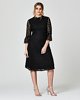 Simply Be Fluted Lace Skater Dress