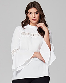 Simply Be Fluted Sleeve Lace Trim Blouse