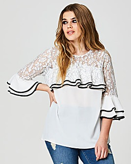 Simply Be Lace Ruffle Tipped Blouse
