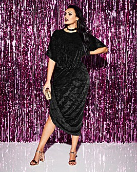 Simply Be Velvet Wrap Asymmetric Dress