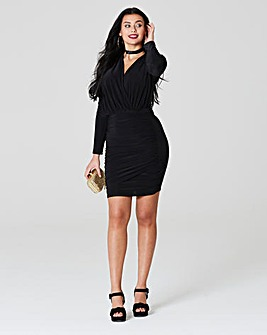 Simply Be Wrap Front Ruched Slinky Dress