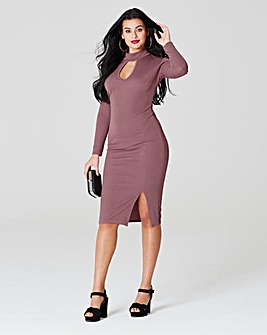 Simply Be Choker Neck Crepe Midi Dress