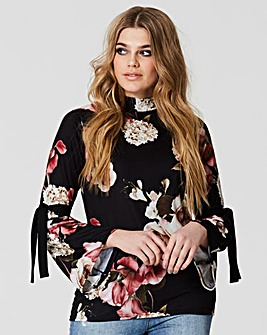 Simply Be Print Fluted Tie Sleeve Top