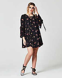 Simply Be Fluted Sleeve Lace Up Dress