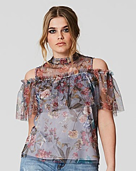 Simply Be Print Mesh Cold Shoulder Top