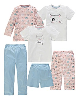 KD Edge Girls Pack of 6 Pyjamas
