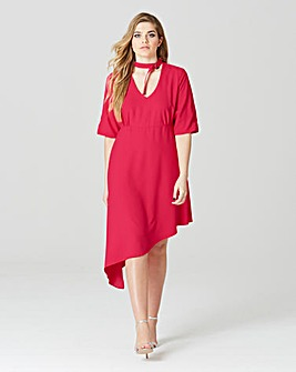Simply Be Choker Neck Asymmetric Dress