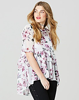 Simply Be Print Mesh Ruffle Hem Top