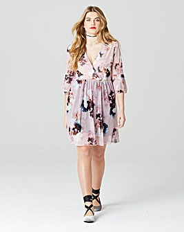 Simply Be Wrap Print Mesh Dress