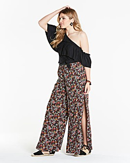 Simply Be Side Split Ditzy Print Trouser