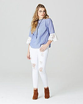 Simply Be Stripe Lace Sleeve Blouse