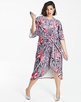 Simply Be Printed Velvet Knot Dress